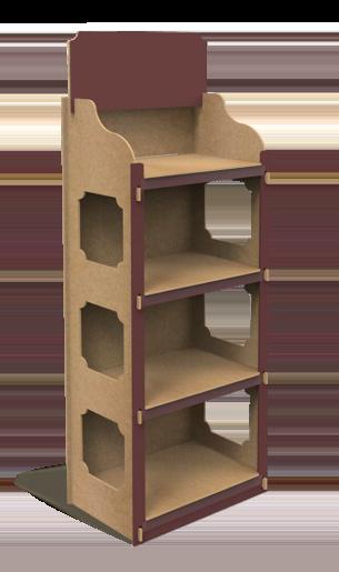 Illustration du présentoir en bois T-Lock
